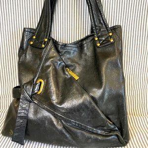 KOOBA Classic, Trendy, Black 100% Leather Tote Bag